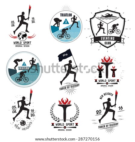 A set of Sports logos, emblems and design elements. The runner with the torch. Emblems and signs of the triathlon. - stock vector