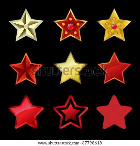 A set of stars on a black background for Christmas holiday. EPS 10