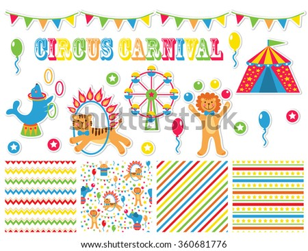 A set of stickers and patterns with cartoon animals circus. Bright vector illustration
