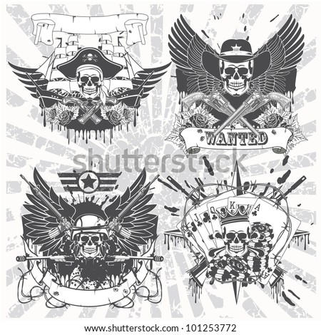 A set of stickers on shirt with skulls - stock vector