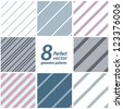 A set of 8 striped patterns. Seamless vectors. - stock photo