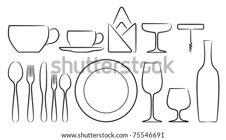 A set of stylized cutlery vector icons, in white background isolated - stock vector