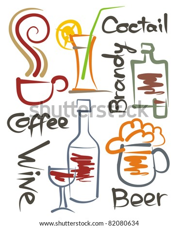 a set of stylized images of different beverages, the vector - stock vector