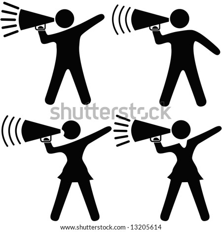 A set of symbol people including cheerleaders shout cheers, announcements, your copy into megaphones. - stock vector