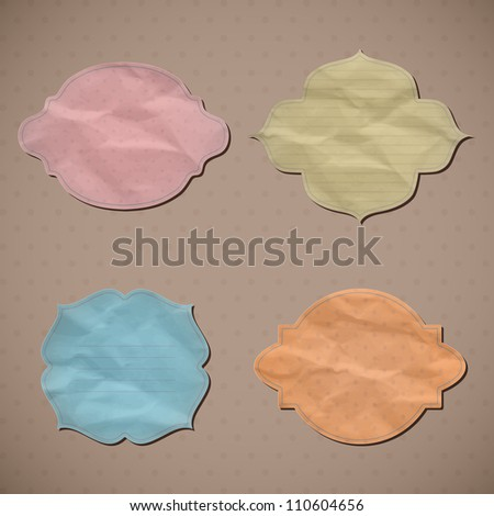 A set of templates of old crumpled paper. Vector  illustration. Eps10.