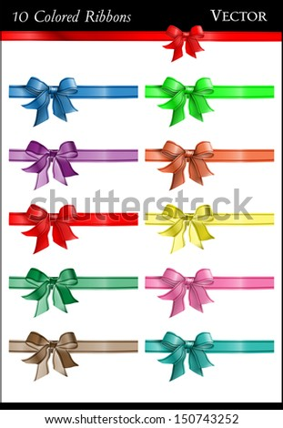 A set of ten colorful bows and ribbons - stock vector