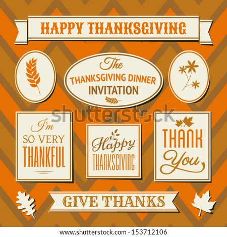 A set of Thanksgiving day labels and tags against seamless chevron background.