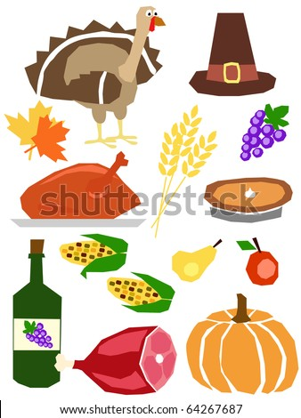 a set of thanksgiving day symbols drawn in simple manner - stock vector