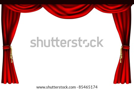 A set of theatre or cinema style curtains - stock vector