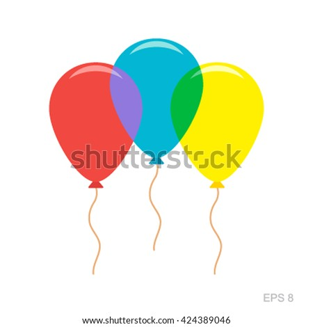 A set of three balloons in a flat style icon isolated on a white background. Vector illustration