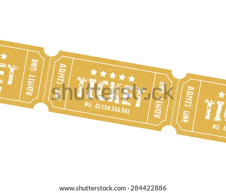a set of three brown or orange tickets - stock vector