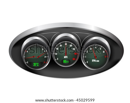 a set of three car dials with speedometer,rev counter and petrol and temperature gauge saved in EPS10 format - stock vector