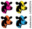 a set of three coloured cow heads - stock vector