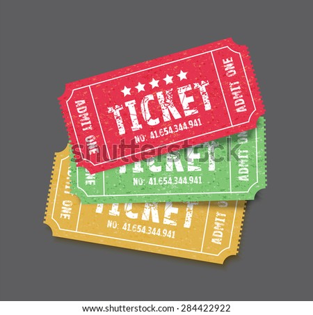 a set of three colourful tickets - stock vector