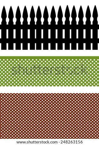 a set of three different fences black green and brown - stock vector
