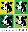 a set of three green cow heads - stock vector