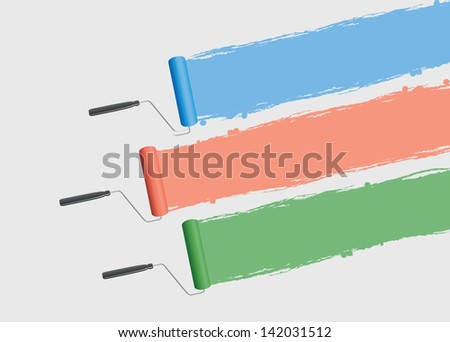 a set of three paint rollers background