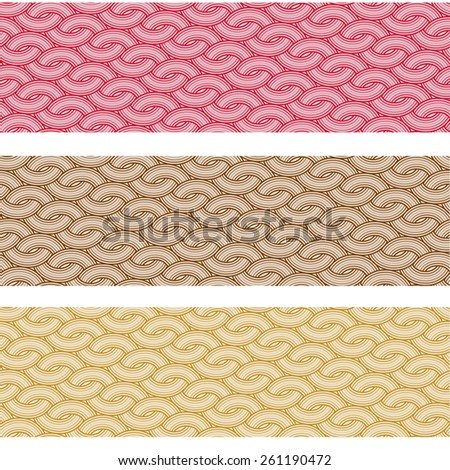 A set of three seamless abstract patterns in red, brown and yellow colors  - stock vector