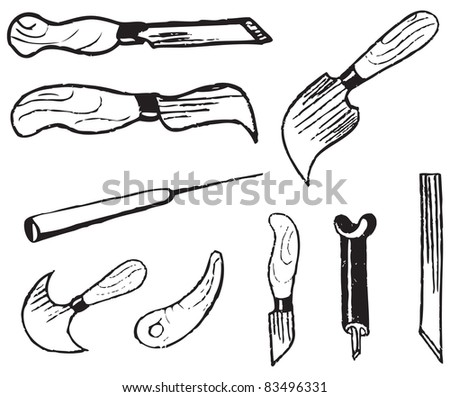 A set of tools for the art of wood carving. Vector illustration.
