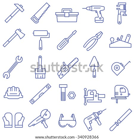A set of tools in a flat style. Tool icons. - stock vector