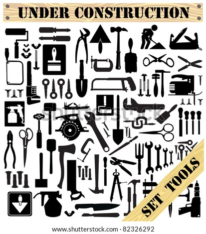 A set of tools silhouettes in black on a white background - stock vector