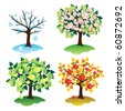 A set of trees in four seasons. Apple and the season. - stock vector