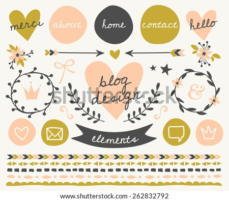 A set of trendy blog design elements in blush pink, green and dark gray. Buttons, wreaths, icons, arrows, decorative borders and text dividers. - stock vector