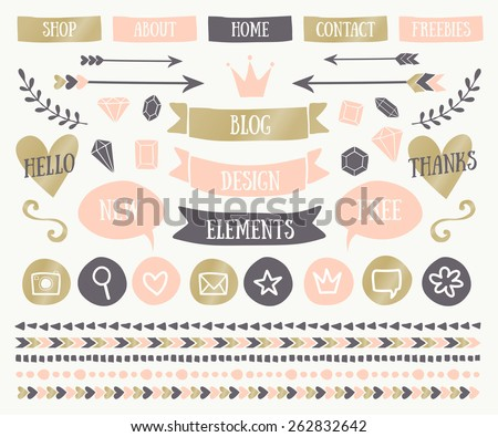 A set of trendy blog design elements in elegant pastel colors. Blush pink, golden and dark gray buttons, laurels, icons, arrows, text bubbles, decorative borders and text dividers. - stock vector