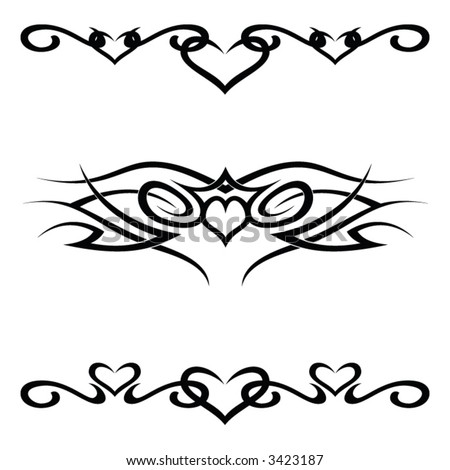 A set of 3 tribal tattoo vector shapes - stock vector