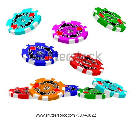 A set of tumbling Poker Chips. - stock vector