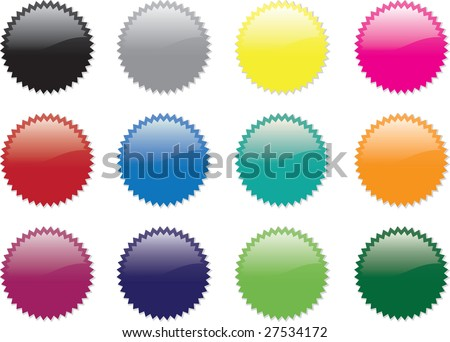 A set of twelve coloured stickers