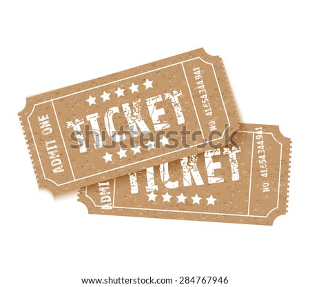 a set of two brown tickets - stock vector