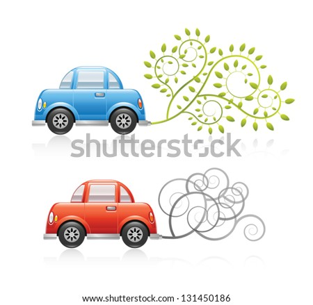 A set of two conceptual ecology illustrations. A red car producing pollution and a blue car using clean energy. Eps 10 Vector. - stock vector