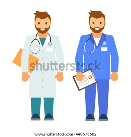 A set of two doctors in different medical clothing. Flat vector isolated on white background - stock vector