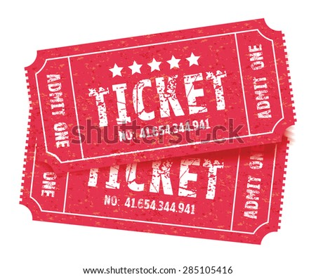 a set of two red tickets - stock vector