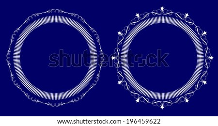 A set of two round frames with ornament  - stock vector