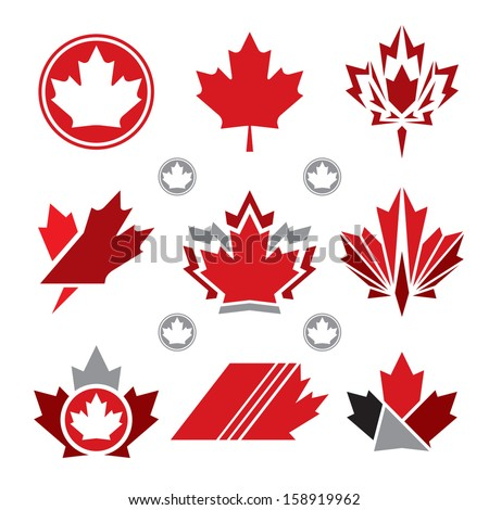 A set of unique Canadian maple leaf vector icons. - stock vector