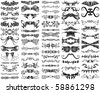 A set of 65 unique, decorative, ornamental design elements, borders, flourishes, horizontal rules, and dividers. - stock photo