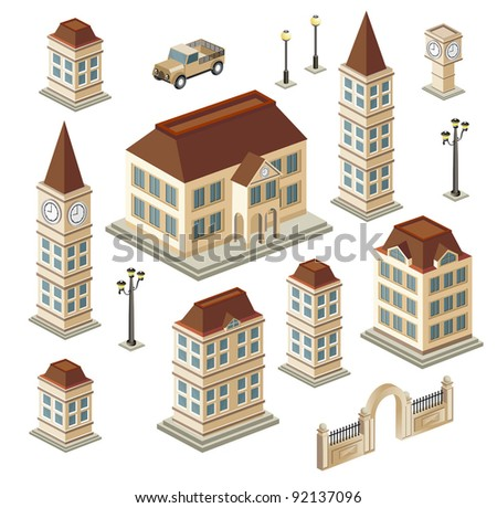 A set of urban and antique buildings in the isometric