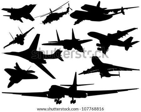 A set of various airplanes and helicopters - stock vector