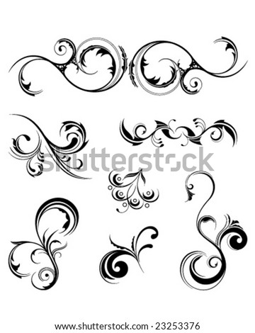 A set of various detailed floral design elements, all grouped individually. - stock vector