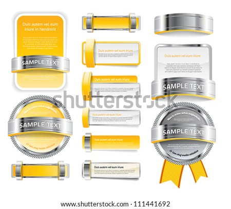 A set of various vector badges banners and buttons, of glass metal and plastic, in golden yellow tones - stock vector