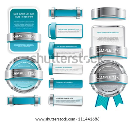 A set of various vector badges banners and buttons, of glass metal and plastic, in turquoise tones - stock vector