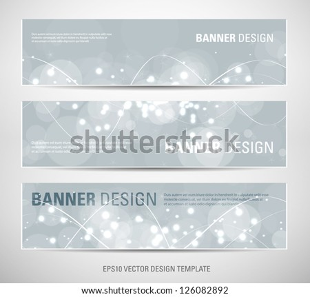 A set of vector abstract banners with gray sparkling light background - stock vector