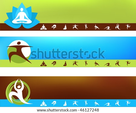 A set of vector banner templates - Yoga  theme - stock vector