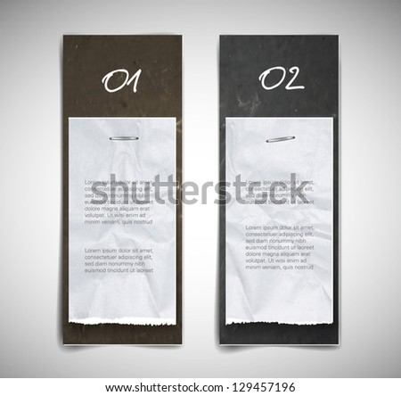 A set of vector cardboard banners (beige and gray) with torn paper pieces attached - stock vector