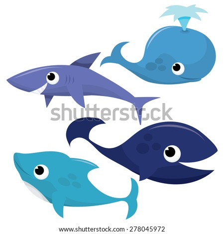 A set of vector cartoon cute sea creatures of whales, shark and dolphins illustration. - stock vector