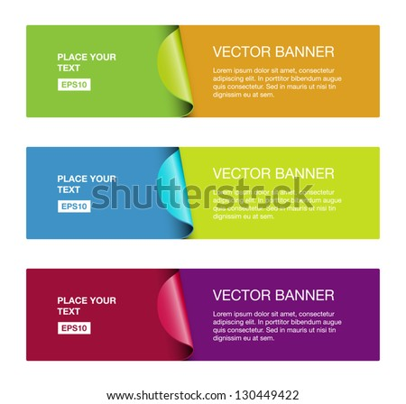 A set of vector colorful banners with stickers - stock vector