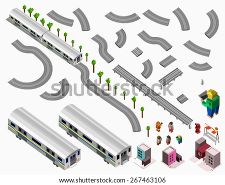 A set of vector elements isometric Railroad with train - stock vector