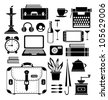 A set of vector elements of the household that may be needed in the journey - stock vector